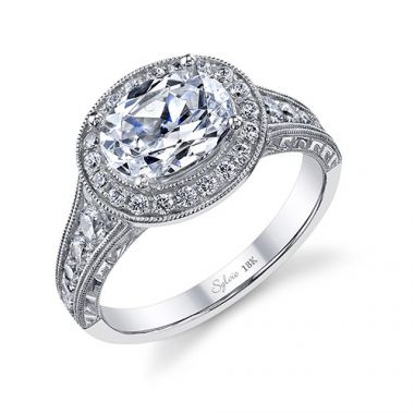 0.55tw Engagement Ring With 1.50ct Oval Head