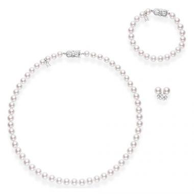 MIKIMOTO 18k White Gold Akoya Pearl Necklace Bracelet and Stud Set