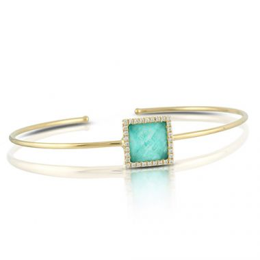 Doves 18k Yellow Gold Diamond & Amazonite Bangle Bracelet