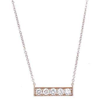 14K WHITE GOLD FIVE ROUND DIAMOND STRAIGHT BAR NECKLACE.