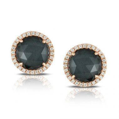 Doves 18K Rose Gold Diamond & Hematite Earrings
