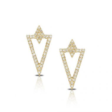 18K Yellow Gold Doves Diamond Earrings