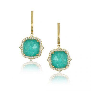 18K Yellow Gold Doves Diamond & Amazonite Earrings