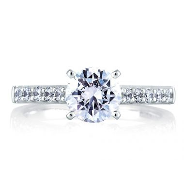 A. Jaffe 18k White Gold Cathedral Classic Engagement Ring