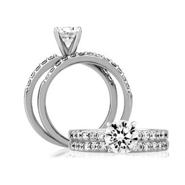 A. Jaffe 18k White Gold Classic Shared Prong Engagement Ring