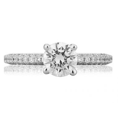 A. Jaffe 18k White Gold Delicate Micro Pave Engagement Ring