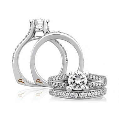 A. Jaffe 18k White Gold Split Flowering Diamond Shank Engagement Ring