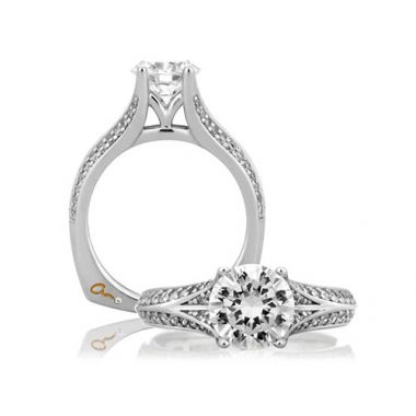 A. Jaffe 18k White Gold Knife Edge Double Row Vintage Engagement Ring