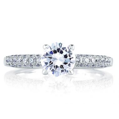 A. Jaffe 18k White Gold Classic French Pave Diamond Engagement Ring