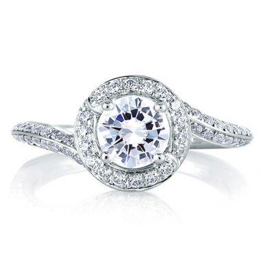 A. Jaffe 18k White Gold Signature Spiral Halo Diamond Engagement Ring