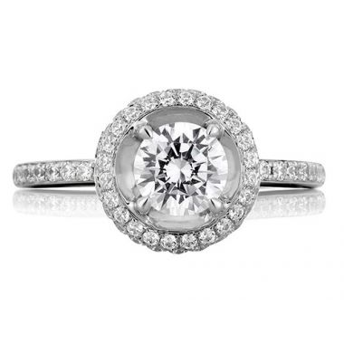A. Jaffe 18k White Gold Classic Double Halo on Disc Shank Diamond Engagement Ring