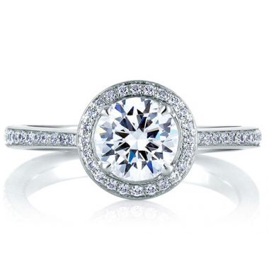 A. Jaffe 18k White Gold Romantic Pave Set Halo Diamond Engagement Ring