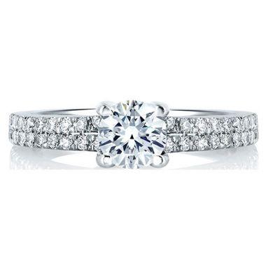 A. Jaffe 18k White Gold Straight Diamond Engagement Ring