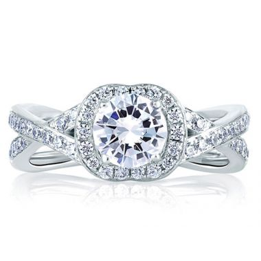 A. Jaffe 18k White Gold Intertwined Shank Halo Diamond Engagement Ring