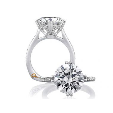 A. Jaffe 18k White Gold Round Statement Diamond Engagement Ring