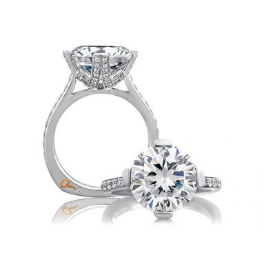 A. Jaffe 18k White Gold Split Prong Statement Round Diamond Engagement Ring