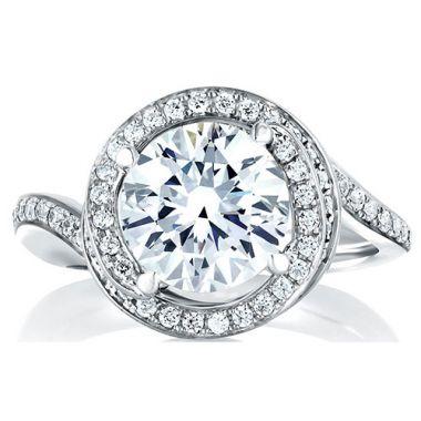 A. Jaffe 18k White Gold Halo Swirl Diamond Engagement Ring
