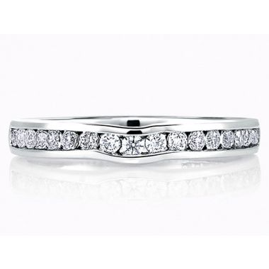 A. Jaffe 18k White Gold Classic Channel Set Diamond Wedding Band