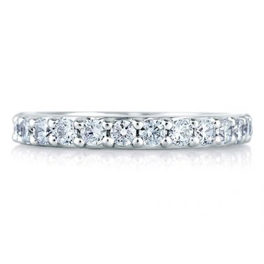 A. Jaffe 18k White Gold Halfway Shared Prong Diamond Wedding Band