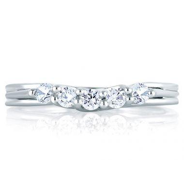 A. Jaffe 18k White Gold Signature Five Stone Trellis Wedding Band