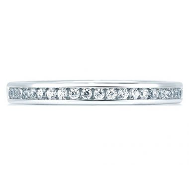 A. Jaffe 18k White Gold Round Channel Set Diamond Wedding Band