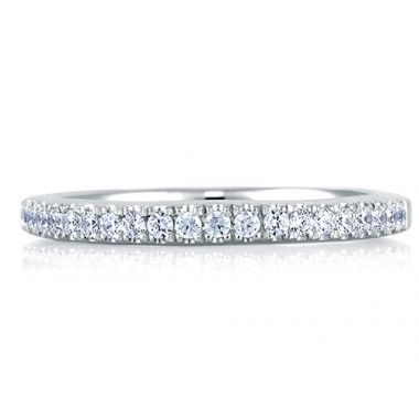 A. Jaffe 18k White Gold Delicate Pave Set Signature Diamond Wedding Band