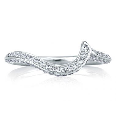 A. Jaffe 18k White Gold Signature Diamond Swirl Wedding Band