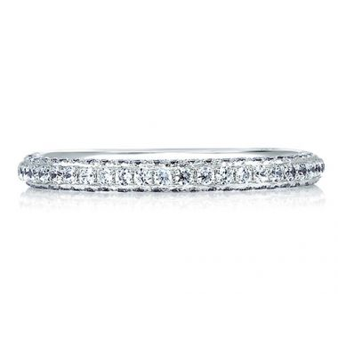 A. Jaffe 18k White Gold Signature Diamond Encrusted Wedding Band