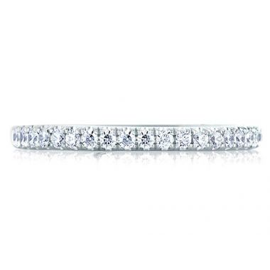 A. Jaffe 18k White Gold Simple Pave Bright Polished Diamond Wedding Band