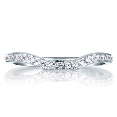 A. Jaffe 18k White Gold Perfect Fit Pave Diamond Wedding Band