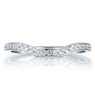A. Jaffe 18k White Gold Perfect Fit Pave Diamond Wedding Band