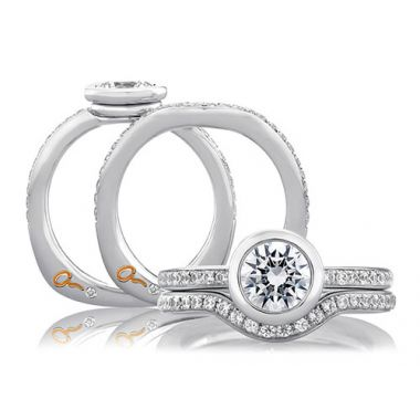 A. Jaffe 18k White Gold Perfect Fit Pave Signature Contour Diamond Wedding Band
