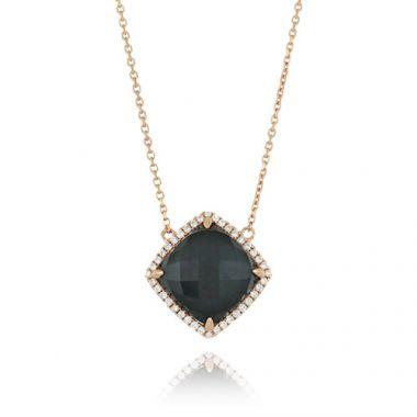 18K Rose Gold Doves Diamond & Hematite Necklace