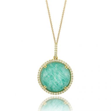 18K Yellow Gold Doves Diamond & Amazonite Necklace