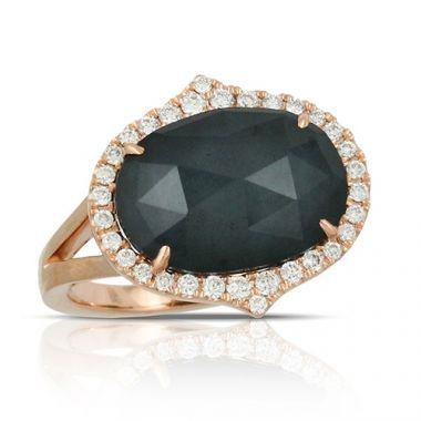 18K Rose Gold Doves Diamond & Hematite Ring