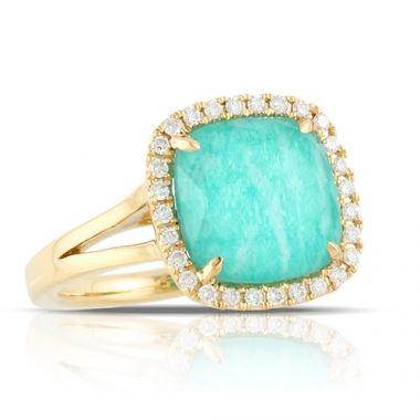 18K Yellow Gold Doves Diamond & Amazonite Ring