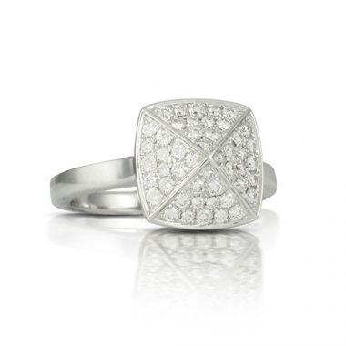 18K White Gold Doves Diamond Ring