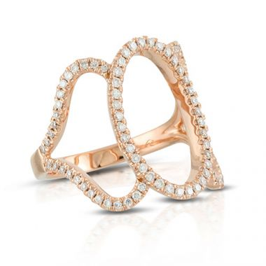 18K Rose Gold Doves Diamond Ring