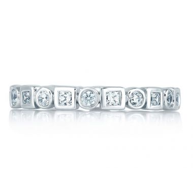 A. Jaffe 18k White Gold Round and Princess Eternity Diamond Anniversary Ring