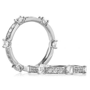 A. Jaffe 18k White Gold Segmented Round and Princess Cut Diamond Anniversary Ring