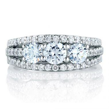A. Jaffe 18k White Gold High Fashion Three Stone Diamond Wedding Band
